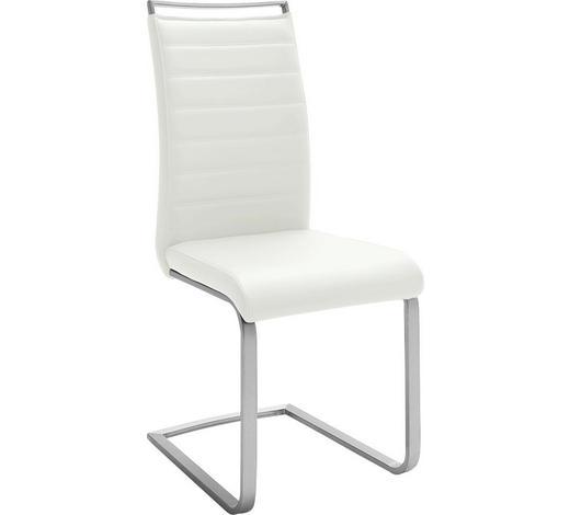 HOUPACÍ ŽIDLE, bílá, barvy nerez oceli - bílá/krémová, Design, kov/textil (42/102/56cm) - Novel