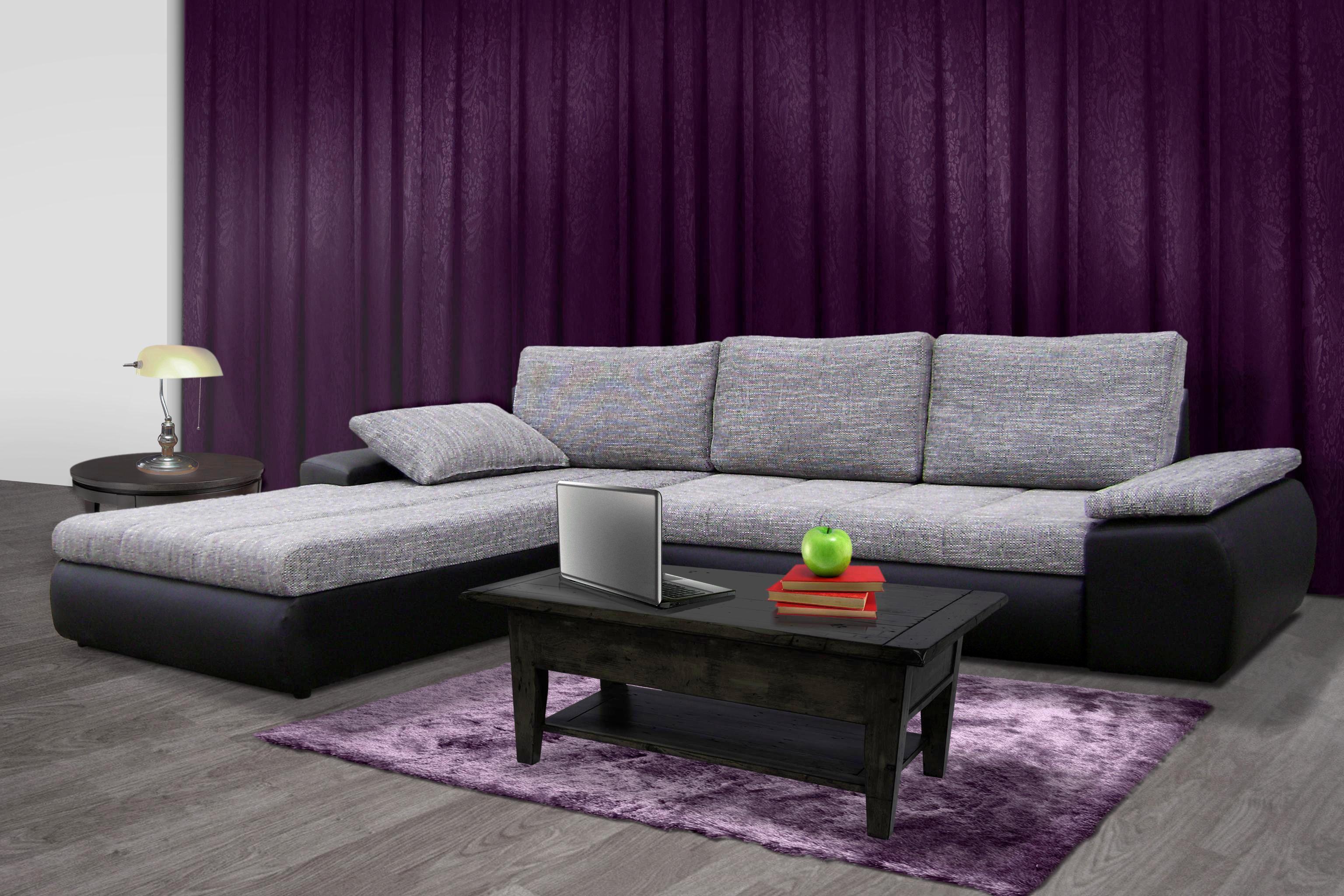 SEDEŽNA GARNITURA - črna/siva, Design, umetna masa/tekstil (310/210cm) - BOXXX