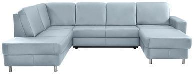 WOHNLANDSCHAFT in Leder Blau  - Chromfarben/Blau, Design, Leder/Kunststoff (198/301/167cm) - Xora