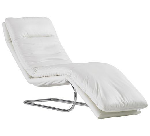 RELAXLIEGE in Leder Weiß - Chromfarben/Weiß, Design, Leder/Metall (65/101/158cm) - Chilliano