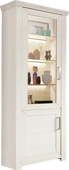 VITRINE Weiß - Edelstahlfarben/Weiß, Design, Glas/Holzwerkstoff (74,5/206,6/42,2cm) - SetOne by Musterring