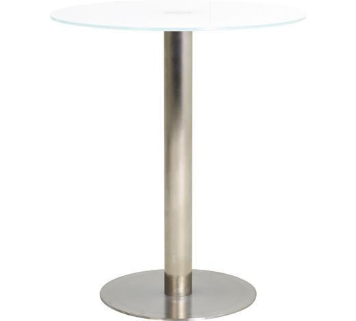 BARTISCH in Metall, Glas  90/105 cm  - Edelstahlfarben/Weiß, Design, Glas/Metall (90/105cm) - Dieter Knoll