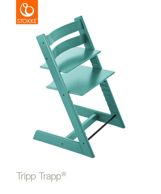 Tripp Trapp Hochstuhl Buche Hartholz, massiv Aqua Blue - Türkis, Basics, Holz (46/79/49cm) - Stokke