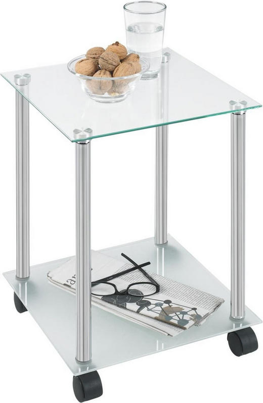 AVLASTNINGSBORD - kromfärg, Design, metall/glas (34/45/34cm) - Low Price