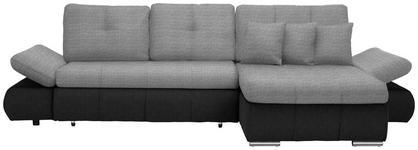 WOHNLANDSCHAFT in Textil Anthrazit, Hellgrau  - Chromfarben/Anthrazit, Design, Kunststoff/Textil (302/187cm) - Carryhome