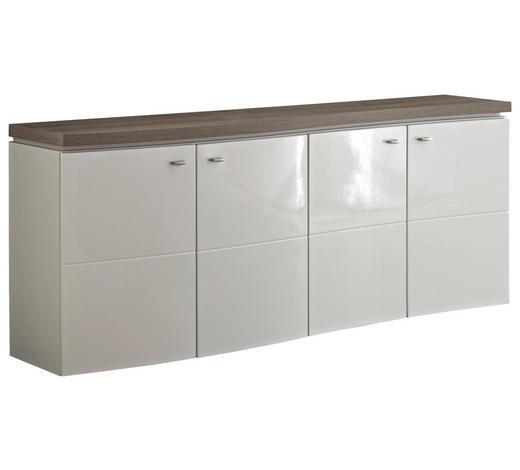 PŘÍBORNÍK/KOMODA, bílá, barvy dubu - bílá/šedá, Konvenční, kov/kompozitní dřevo (180/75/41cm) - Stylife