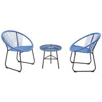 BALKONSET 3-teilig  - Blau, Design, Glas/Kunststoff (75/50/84/50/61/50cm)
