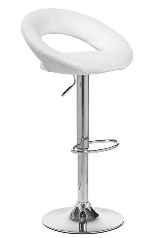 BARHOCKER Lederlook Chromfarben, Weiß - Chromfarben/Weiß, Design, Textil/Metall (54/81,5-103,5/50,50cm) - CARRYHOME