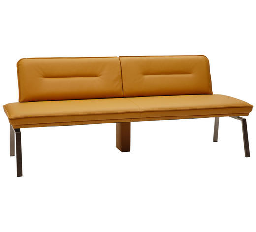 SITZBANK  in Edelstahlfarben, Currygelb  - Currygelb/Edelstahlfarben, Design, Leder/Metall (210cm) - Dieter Knoll
