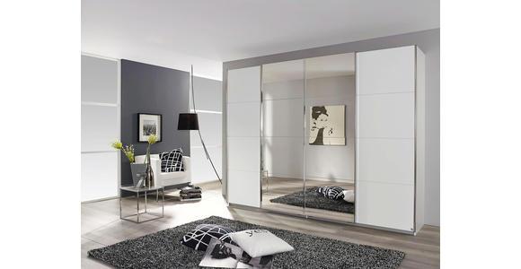 Schwebetürenschrank mit Spiegel 316cm Bensheim, Weiß Dekor - Weiß, MODERN, Holzwerkstoff (316/230/62cm) - James Wood