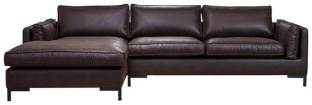 WOHNLANDSCHAFT Dunkelbraun Lederlook  - Dunkelbraun/Schwarz, Design, Textil/Metall (160/295cm) - Hom`in
