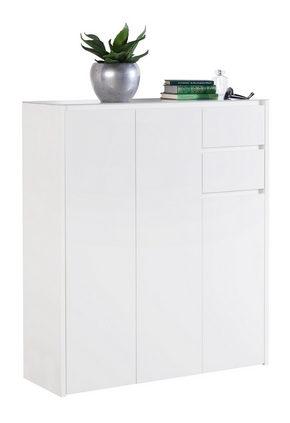 SKOSKÅP - vit, Design, glas/träbaserade material (99,7/117,5/34,1cm) - Voleo