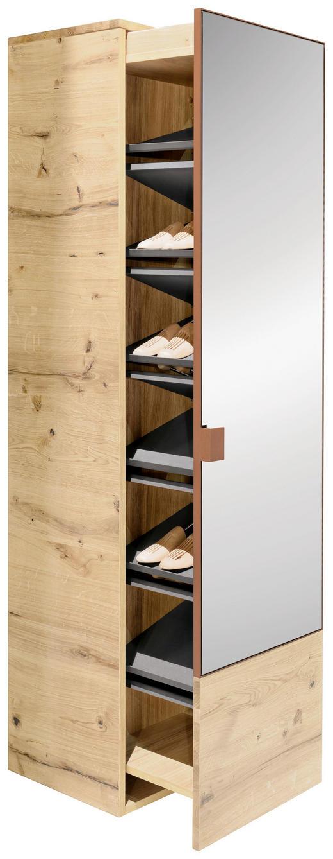 SCHUHSCHRANK - Eichefarben/Grau, Design, Glas/Holz (48,2/44,7/197,1cm) - Voglauer