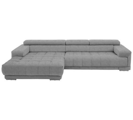 WOHNLANDSCHAFT in Textil Silberfarben, Hellgrau  - Silberfarben/Hellgrau, Design, Textil/Metall (190/335cm) - Beldomo Style