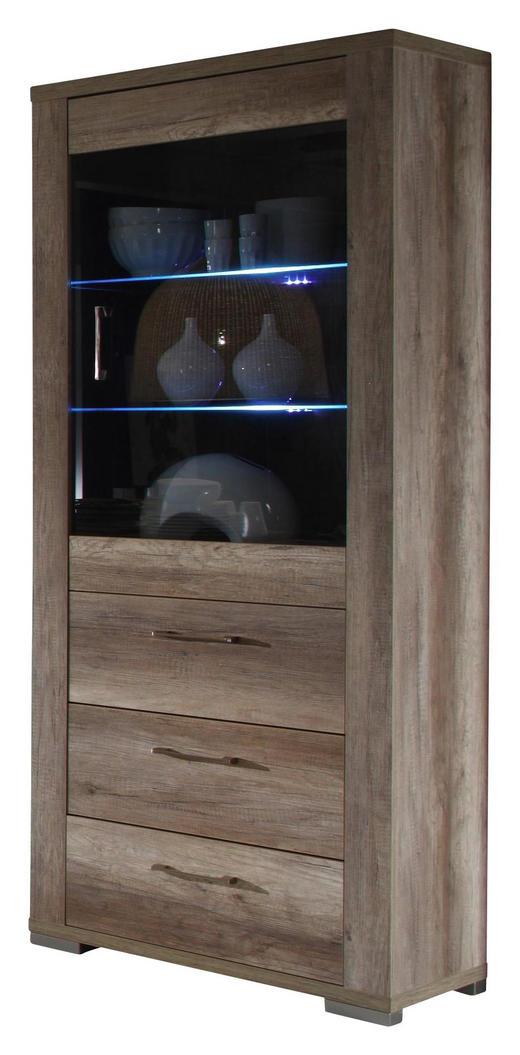 VITRINE Trüffeleichefarben - Edelstahlfarben/Trüffeleichefarben, Design, Glas/Kunststoff (76/199/45cm) - Carryhome