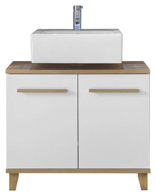 WASCHBECKENUNTERSCHRANK Weiß - Eichefarben/Weiß, Design, Holzwerkstoff/Kunststoff (80/68/40cm) - Xora
