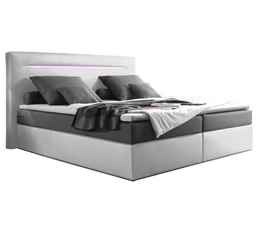 BOXSPRINGBETT 180/200 cm  in Silberfarben, Weiß - Silberfarben/Weiß, Trend, Holzwerkstoff/Kunststoff (180/200cm) - Carryhome
