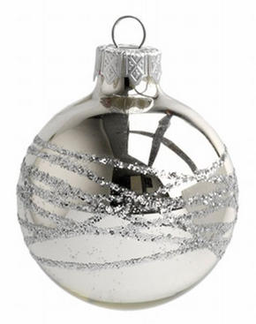 JULGRANSKULA - silver, Trend, glas (6cm) - X-Mas
