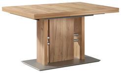 ESSTISCH in Metall, Holzwerkstoff 130(180)/90/76 cm   - Edelstahlfarben/Eichefarben, Design, Holzwerkstoff/Metall (130(180)/90/76cm) - Moderano
