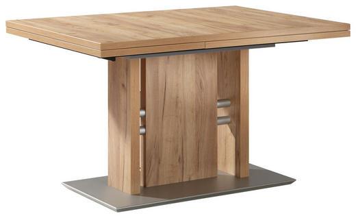 ESSTISCH rechteckig Edelstahlfarben, Eichefarben - Edelstahlfarben/Eichefarben, Design, Metall (130(180)/90/76cm) - Moderano