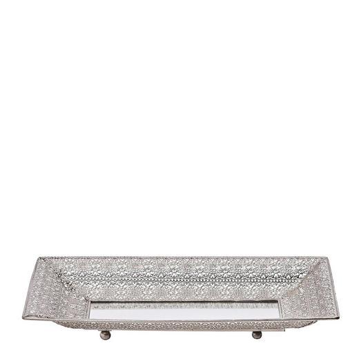PLATTE - Silberfarben, Basics, Glas/Metall (44,5/26/6cm) - Ambia Home