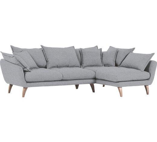 WOHNLANDSCHAFT Grau Flachgewebe  - Naturfarben/Grau, Trend, Holz/Textil (267/170cm) - Ambia Home