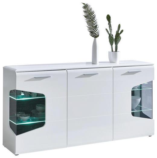 SIDEBOARD Hochglanz, matt Eichefarben, Weiß - Eichefarben/Silberfarben, Design, Glas/Holzwerkstoff (180/89/41cm) - Hom`in