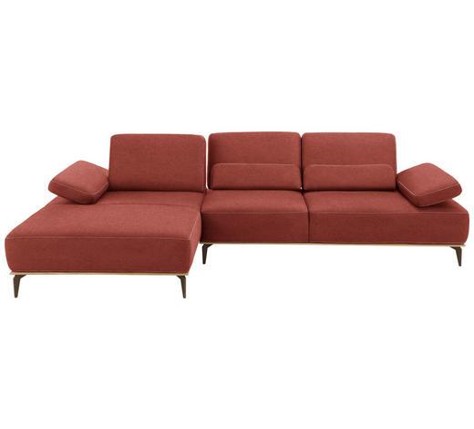 WOHNLANDSCHAFT in Textil Rot  - Beige/Rot, Design, Textil/Metall (178/298cm) - Valnatura