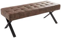 SITZBANK Lederlook Braun  - Anthrazit/Braun, Trend, Textil/Metall (140/48/45cm) - Carryhome