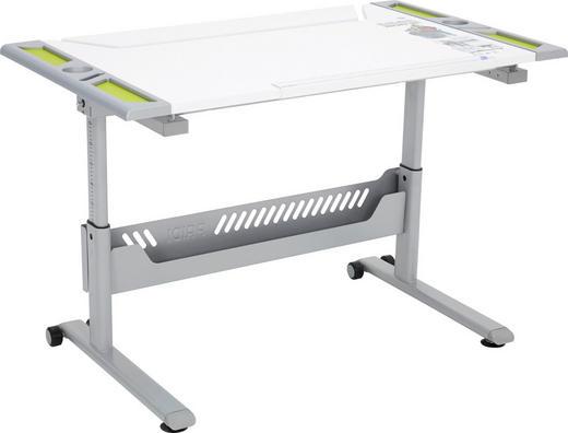 JUGENDSCHREIBTISCH Limette, Silberfarben, Weiß - Limette/Silberfarben, Design, Kunststoff/Metall (120,4/53-79/70,4cm) - Paidi