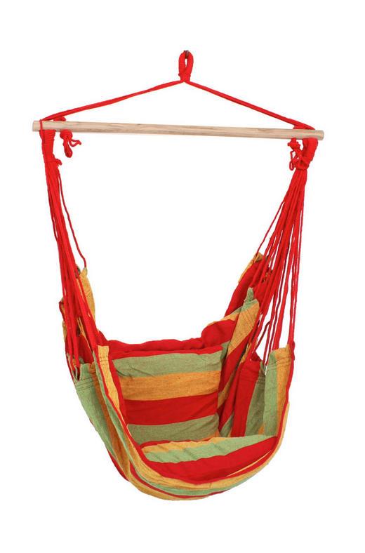 HÄNGESESSEL Gelb, Grün, Rot - Gelb/Rot, Basics, Holz/Textil (90/120/60cm)