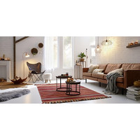 BEISTELLTISCH Mangoholz massiv rund Braun, Schwarz  - Schwarz/Braun, Basics, Holz/Metall (43/35cm) - Ambia Home