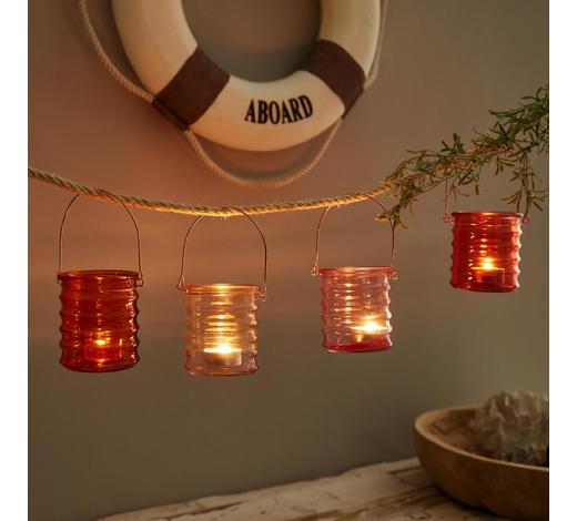 TEELICHTHALTER-SET 4-teilig  - Klar/Orange, Design, Glas/Metall (8/9cm)