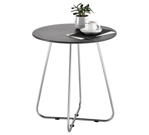 BEISTELLTISCH rund Schwarz, Nickelfarben  - Schwarz/Nickelfarben, Design, Glas/Metall (43/47cm) - Xora