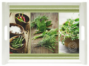 SERVERINGSBRICKA - grön/brun, Klassisk, plast (45,5/31cm) - Homeware
