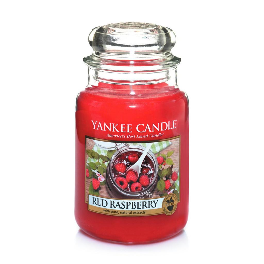 Yankee Candle Duftkerze Yankee Candle Red Raspberry , Rot , Glas , zylindrisch , 18.0 cm , Deckel, ohne Palmöl , Dekoration, Kerzen, Duftkerzen