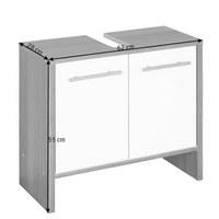 WASCHBECKENUNTERSCHRANK Weiß - Graphitfarben/Alufarben, Design, Holzwerkstoff/Kunststoff (62/55/28cm) - Xora