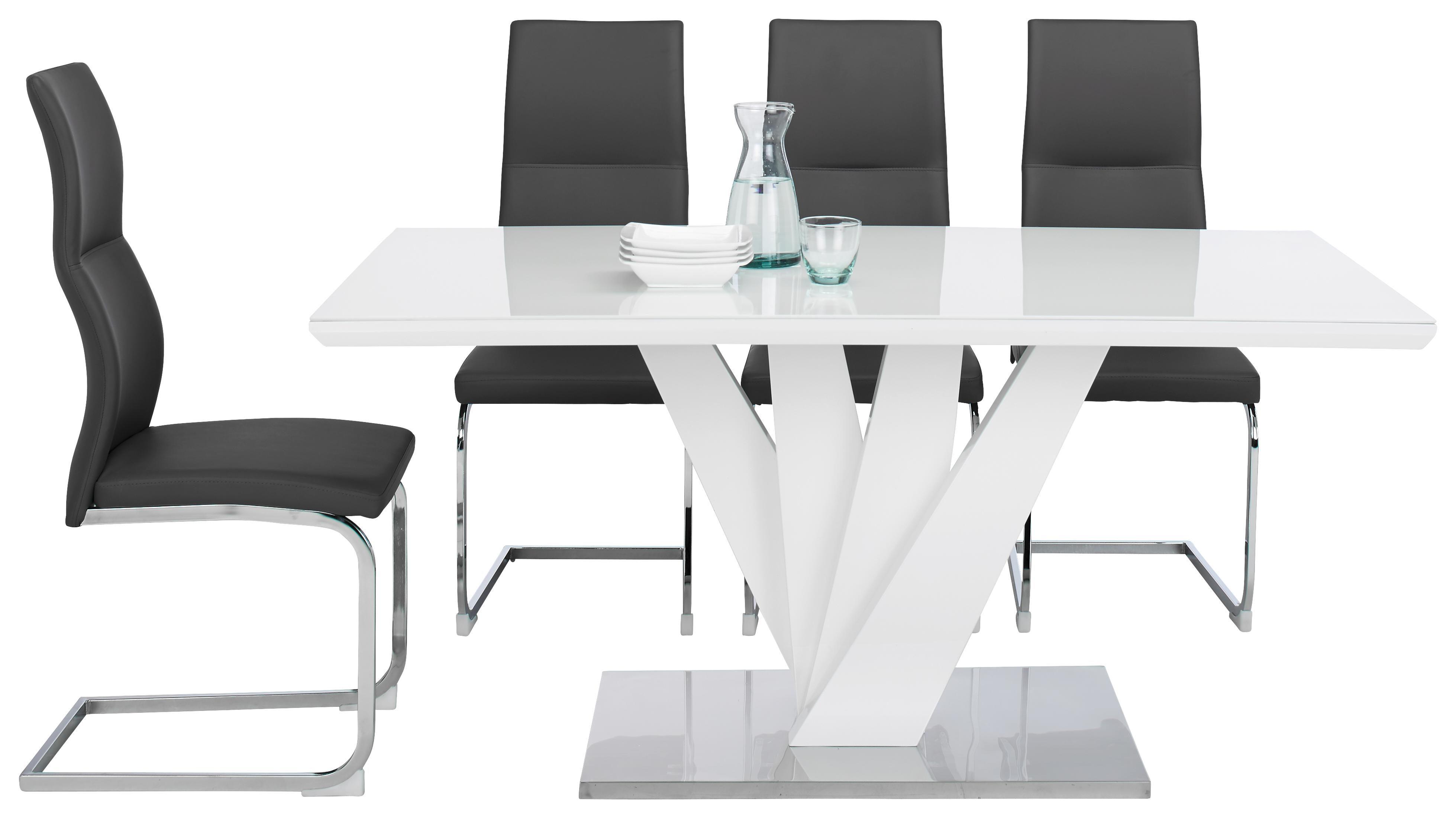 MATBORD - vit/rostfritt stål-färgad, Design, metall/glas (160/76/90cm)