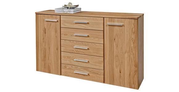KOMMODE Eiche teilmassiv Eichefarben - Eichefarben/Alufarben, Design, Holz/Holzwerkstoff (141/92/41cm) - Dieter Knoll