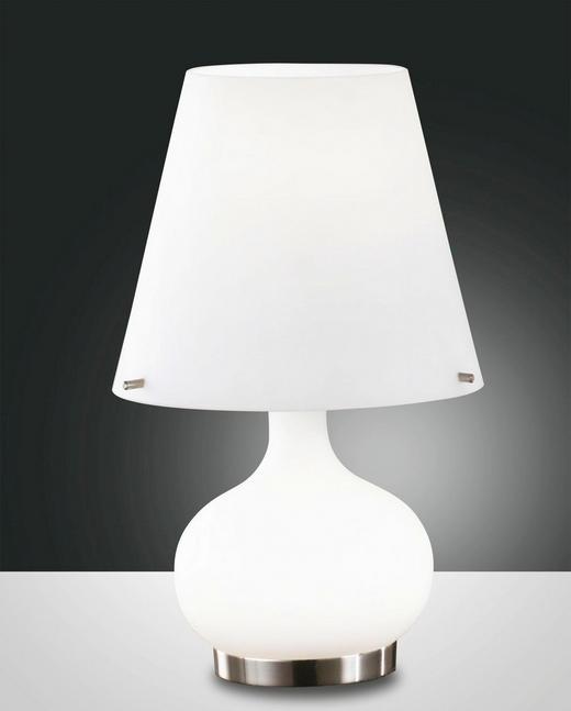 TISCHLEUCHTE - Weiß, Design, Glas/Metall (20/33cm)