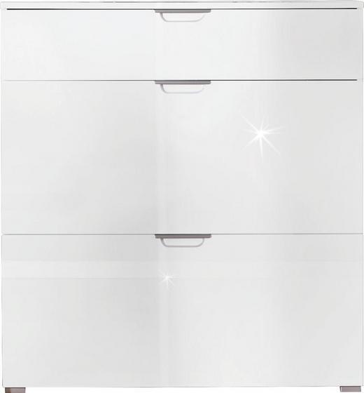 SCHUHSCHRANK Hochglanz Weiß - Alufarben/Weiß, Design, Metall (100/105/30cm) - XORA