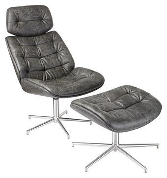 POČIVALNIK  črna tekstil - črna, Design, kovina/tekstil (59/98/83,50cm) - Dieter Knoll