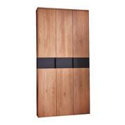 GARDEROBENSCHRANK 90/196/37 cm  - Eichefarben/Schwarz, Design, Glas/Holz (90/196/37cm) - Cassando