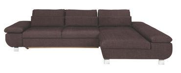WOHNLANDSCHAFT Braun Webstoff - Chromfarben/Dunkelblau, Design, Textil/Metall (313/203cm) - Venda