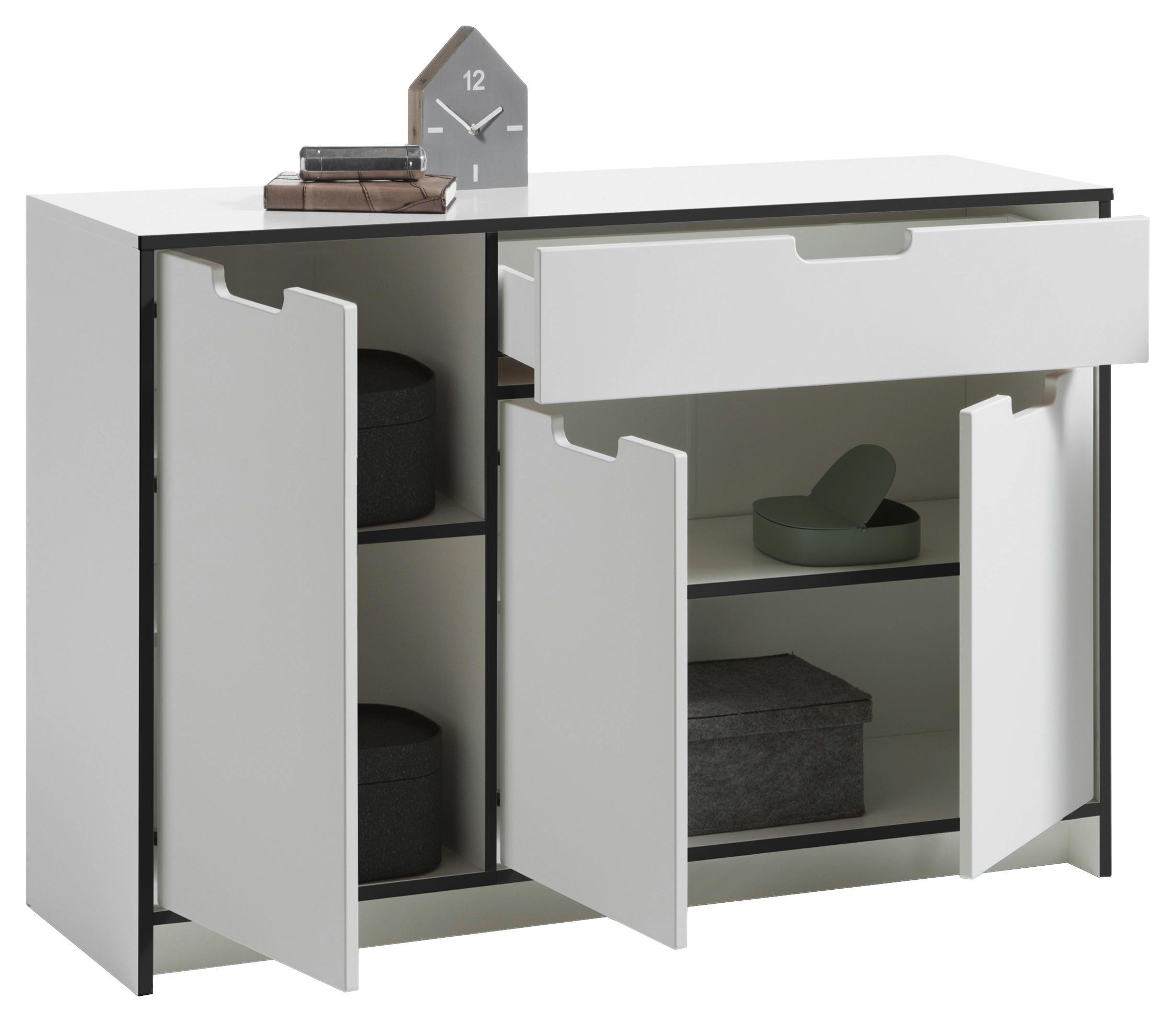 KOMODA - Bela, Moderno, Pločasti materijal (125/84/40cm) - Carryhome