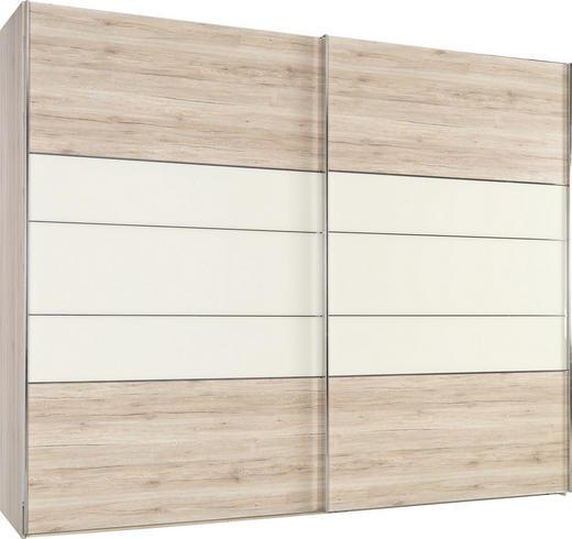 SCHWEBETÜRENSCHRANK 2-türig Eichefarben, Magnolie - Chromfarben/Eichefarben, KONVENTIONELL, Glas/Holzwerkstoff (250/236/67cm) - Voleo