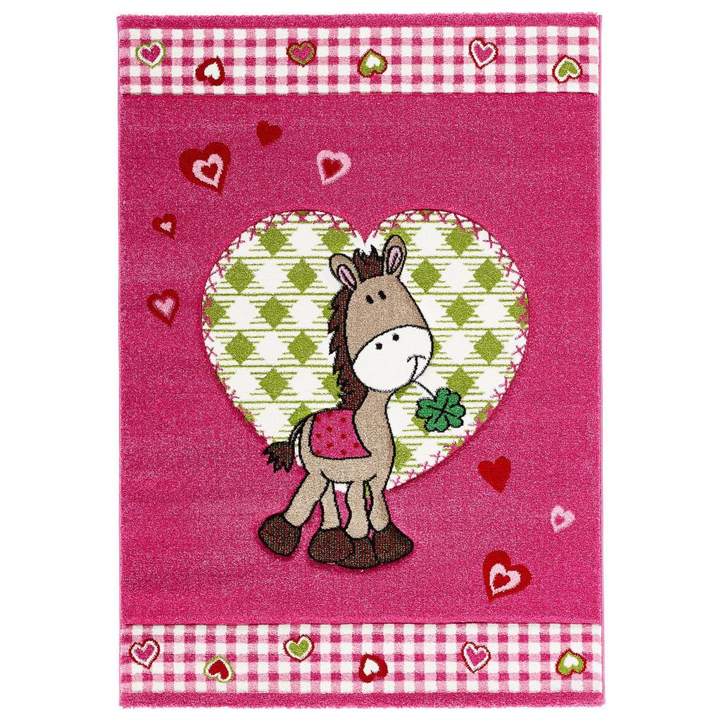 Pinkfarbener Kinderteppich mit lustigem Pferd