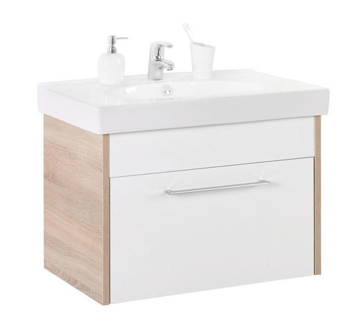 SPODNÍ UMYVADLOVÁ SKŘÍŇKA, barvy dubu - bílá/barvy dubu, Design, kompozitní dřevo/umělá hmota (75/51,5/47cm) - Xora