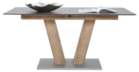 ESSTISCH in Kunststoff, Holzwerkstoff 160(200)/90/77 cm   - Eichefarben/Graphitfarben, KONVENTIONELL, Holzwerkstoff/Kunststoff (160(200)/90/77cm) - Voleo
