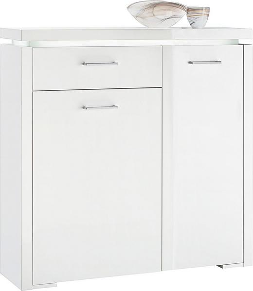 SCHUHSCHRANK Hochglanz, lackiert Weiß - Silberfarben/Weiß, Design, Holzwerkstoff (102/102/28cm) - Voleo